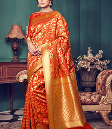 Buy Orange woven kanchipuram silk saree with blouse kanchipuram-silk-saree online