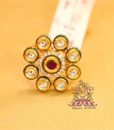 Buy Kundan Ruby enamelling Adjustable Ring Ring online