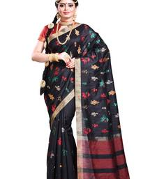 Buy Black embroidered silk saree with blouse silk-saree online