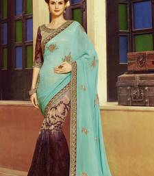 Buy Turquoise embroidered art silk sarees saree with blouse wedding-saree online