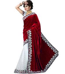 Buy Red embroidered velvet saree velvet-saree online