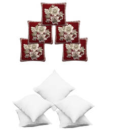 Buy Multicolor cotton rich combo of cushion cover  and  cushion fillers cushion-cover online