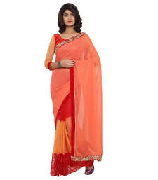 Buy Orange embroidered georgette saree with blouse net-saree online
