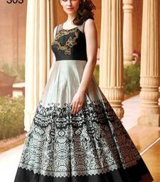 Buy black embroidered art_silk semi stitched party wear gown party-wear-gown online