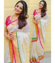 Buy White printed silk saree with blouse pongal-dhoti-saree online