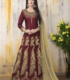 Buy Maroon zari bangalore silk salwar with dupatta anarkali-salwar-kameez online