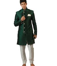 Buy Amora Designer Ethnic Green Blended Silk Indo-Western Sherwani For Men jodhpuri-sherwani online