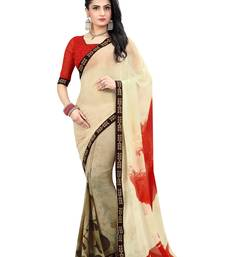 Buy multicolor printed faux georgette saree with blouse printed-saree online
