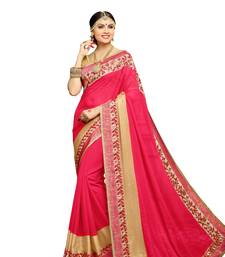 Buy Red embroidered faux georgette saree with blouse diwali-sarees-collection online