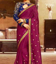 Buy IndianEFashion Maroon embroidered art silk sarees saree with blouse wedding-saree online