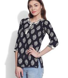Buy Black plain cotton stitched kurti short-kurtis online
