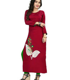 Buy Maroon embroidered stitched rayon long-kurtis long-kurti online