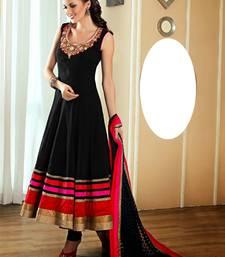 Buy Black embroidered satin salwar with dupatta anarkali-salwar-kameez online