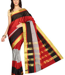 Buy Multicolor plain cotton silk saree  Saree online