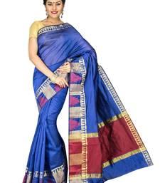 Buy Purple plain cotton silk saree  Saree online