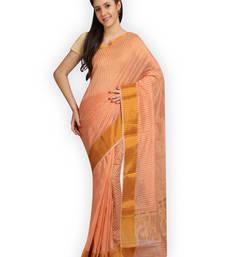 Buy Orange woven cotton silk saree  Saree online