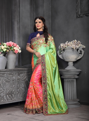 Multicolor embroidered silk saree with blouse