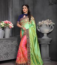 Buy Multicolor embroidered silk saree with blouse art-silk-saree online