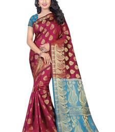 Buy Maroon printed banarasi silk saree with blouse banarasi-saree online