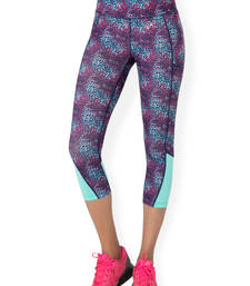 Buy Navy Cluster workout gym wear Cropped Legging workout-gym-wear online