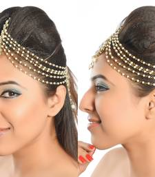 Buy Traditional Design Matha Patti For Wedding Gold Finishing with Pearl and Stone maang-tikka online