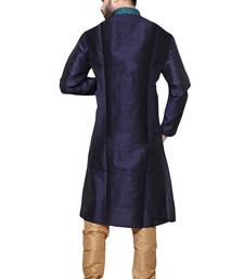 Buy Mens  blue polysilk kurta set kurta-pajama online