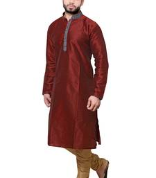 Buy Mens maroon  polysilk kurta set men-festive-wear online