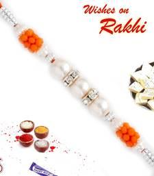 Buy Orange Beads  and  AD Studded Pearl Rakhi pearl-rakhi-design online