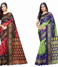 Buy Multicolor printed bhagalpuri silk saree with blouse navratri-sarees-nine-day online