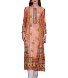 Buy Fabron Designer Peach cotton stitched Poly Elegant Printed Kurti ethnic-kurtis online