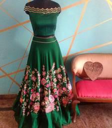 Buy Green embroidered silk semi stitched lehenga with dupatta lehenga-choli online