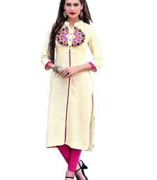Buy Silver embroidered rayon stitched cotton-kurtis cotton-kurti online