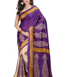 Buy Blue printed art silk saree with blouse art-silk-saree online