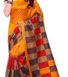 Buy Orange printed art silk saree with blouse art-silk-saree online