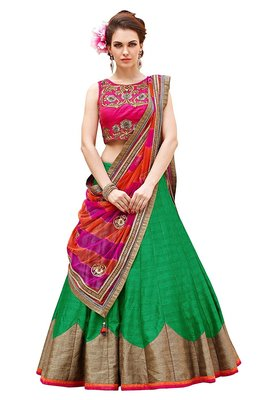 Green embroidered dupion silk unstitched lehenga with dupatta