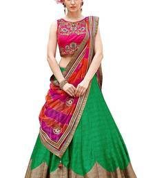 Buy Green embroidered dupion silk unstitched lehenga with dupatta lehenga online