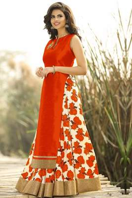 Orange printed cotton silk unstitched lehenga