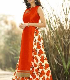 Buy Orange printed cotton silk unstitched lehenga lehenga-below-1000 online