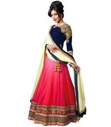 Buy Pink embroidered georgette unstitched lehenga with dupatta lehenga-below-2000 online