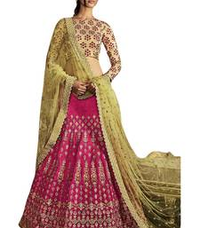 Buy Pink embroidered art silk unstitched lehenga with dupatta lehenga-below-3000 online