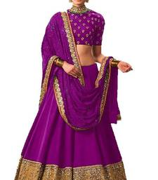 Buy Purple banglori silk embroidered lehenga with dupatta black-friday-deal-sale online