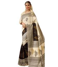 Buy Cream printed art silk saree with blouse below-500 online