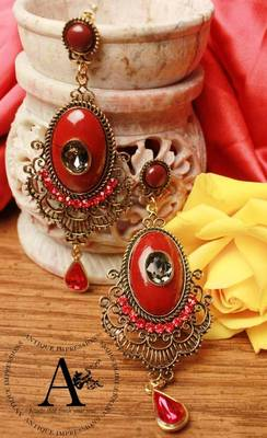 Olden Era Red Diamond Chandelier earrings with Red-Black shaped Stones, designed by Antique Impressions