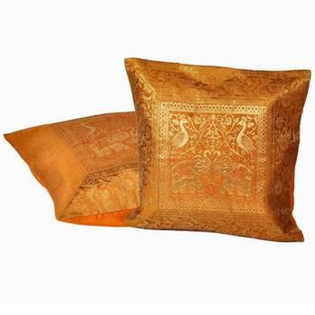Golden Yellow Jacquard Silk Cushion Cover Pair
