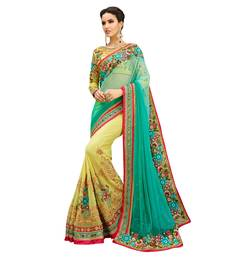Buy light_green embroidered net saree with blouse net-saree online