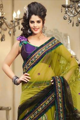 Elegant Green Georgette Embroidered Sari