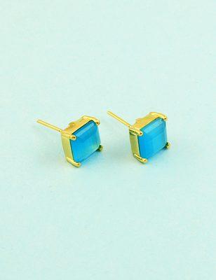 Aqua blue cz ad american diamond stud earrings jewellery for women
