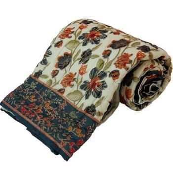 Floral Print Cotton Single Bed Razai Quilt -