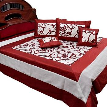 Floral Design Silk Double Bedcover Cushion Set