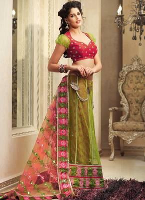 Beautiful Lime Green Embroidered Sari